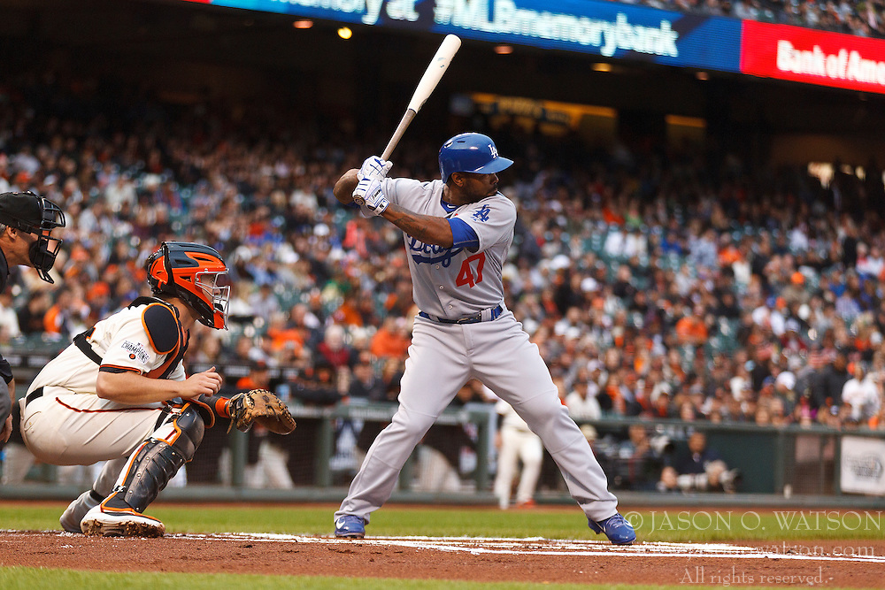 SAN FRANCISCO, CA - MAY 20:  Howie Kendrick #47 of the Los Angeles Dodgers at bat against the San Francisco Giants during the first inning at AT&T Park on May 20, 2015 in San Francisco, California.  The San Francisco Giants defeated the Los Angeles Dodgers 4-0. (Photo by Jason O. Watson/Getty Images) *** Local Caption *** Howie Kendrick