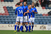 GOAL Ian Henderson celebrates scoring a penalty 2-0   during the The FA Cup match between Rochdale and Bromley at Spotland, Rochdale, England on 4 November 2017. Photo by Daniel Youngs.