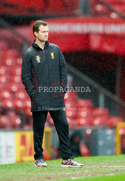 MANCHESTER, ENGLAND - Tuesday, May 14, 2013: Liverpool's Under-21's manager Alex Inglethorpe during the Premier League Academy Elite Group Semi-Final match against Manchester United at Old Trafford. (Pic by David Rawcliffe/Propaganda)