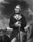 Richard Kempenfelt (1718-1782) English naval officer of Swedish descent. Rear admiral 1780. Command of HM ships in East Indies in Seven Years War (1756-1763). Drowned when his flagship HMS 'Royal George' capsized off Spithead. Engraving after portrait by Tilly Kettle.