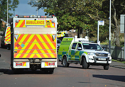 Emergency services attend the scene of an reported explosion in Bonkle, Wishaw, Angie Isac | EEm Thursday 5 October 2017