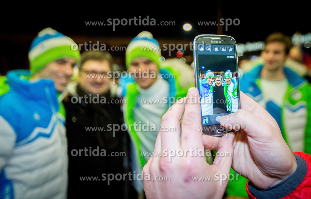 David and Marcel Rodman, ice hockey players at reception of Slovenia team arrived from Winter Olympic Games Sochi 2014 on February 19, 2014 at Airport Joze Pucnik, Brnik, Slovenia. Photo by Vid Ponikvar / Sportida