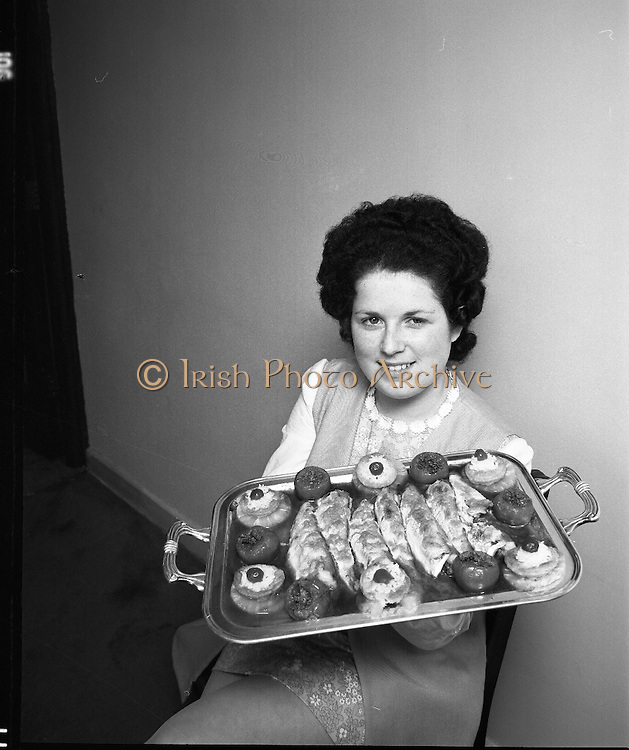 """B.I.M.National Seafood Cook..1972..05.05.1972..05.05.1972..5th May 1972..The final of the """"National Seafood Cook 1972"""" was held in the Great Southern Hotel,Killarney,Co Kerry.The winner was Miss Mary Coleman (14 years)from the Vocational School, Claremorris,Co Mayo.The title of the winning dish was """"Amber Ring. She was chosen from 18 regional finalists...Celine O'Reilly,second place,pictured with her entry,""""India Gold""""."""