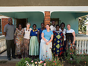A photo of the Send a Cow, UK, team on their visit to Uganda, (left to right; ???, Elizabeth, Lucy, Jane, Catherine, Jen, Stanslaus, Joyce, Helen and Sarah)