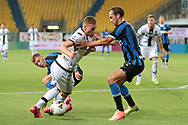 Parma Calcio's Swedish midfielder Dejan Kulusevski appears to be fouled by Inter's Italian midfielder Nicolo Barella in the penalty are as Inter's Uruguayan defender Diego Godin moves in to assist during the Serie A match at Stadio Ennio Tardini, Parma. Picture date: 28th June 2020. Picture credit should read: Jonathan Moscrop/Sportimage