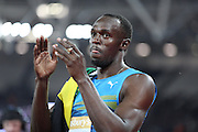 Usain Bolt of Jamaica after winning the 100m during the Sainsbury's Anniversary Games at the Queen Elizabeth II Olympic Park, London, United Kingdom on 24 July 2015. Photo by Phil Duncan.