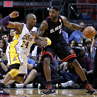 10 March 2011: Los Angeles Lakers shooting guard Kobe Bryant (24) defends on Miami Heat small forward LeBron James (6) during the Miami Heat 94-88 victory over the Los Angeles Lakers at the AmericanAirlines Arena, Miami, Florida, USA.