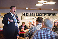On the day of the Iowa caucus, Republican presidential candidate GOV. CHRIS CHRISTIE speaks to the Westside Conservative Club at Machine Shed restaurant in Urbandale, Iowa.