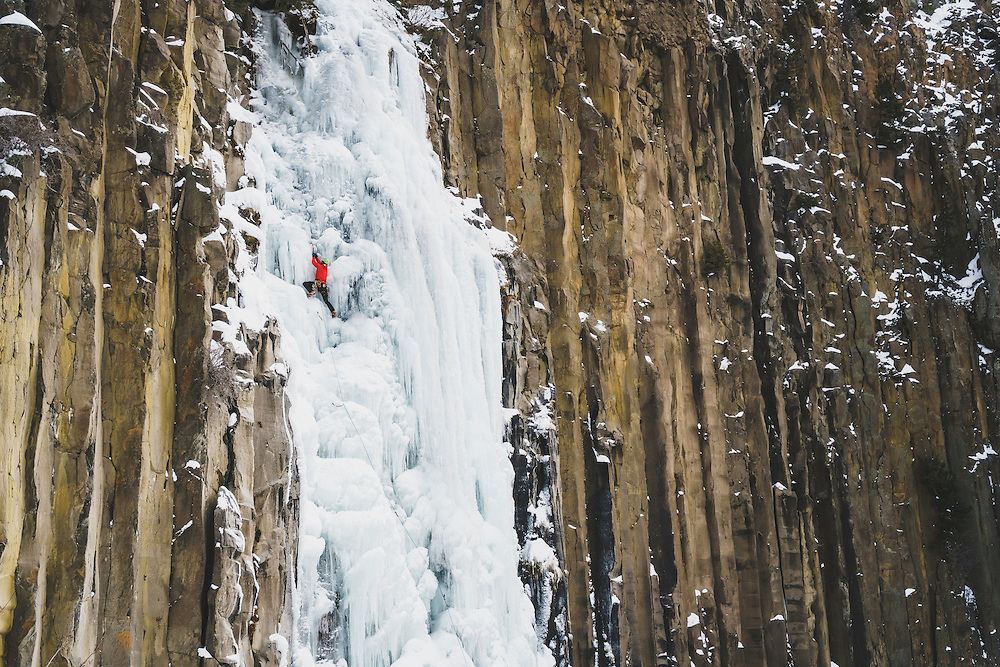 Dirk Tyler makes his way up a frozen Palisade Falls, WI3, Hyalite Canyon, Montana.