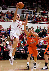 February 20, 2010; Stanford, CA, USA;  Stanford Cardinal guard Jeanette Pohlen (23) shoots past Oregon St. Beavers guard Haiden Palmer (22) during the first half at Maples Pavilion.  Stanford defeated Oregon State 82-48.
