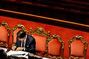 Il presidente del Consiglio dei Ministri Giusepe Conte al Senato della Repubblica durante la discussione generale per la fiducia al Governo. Roma 10 Settembre 2019. Christian Mantuano / OneShot