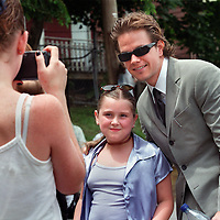 """""""RECONNECTING WITH THE PAST"""" LOCAL HERO BOSTON/MOVIE ACTOR MARK WAHLBERG SPENDS SOME TIME POSING W/ ALEXA MCNEIL AT HIS OLD HANG OUT, THE DANIEL MARR BOYS AND GIRLS CLUB  JUNE24'00 AT THE GRAND OPENING OF PAUL R. MCLAUGHLIN YOUTH CENTER IN DORCHESTER section of BOSTON. (IN HONOR OF THE LATE (MURDERED) PROSECUTER MCLAUGHLIN. ACCORDING TO MANY SOURCES MARK WAS THE LAST PERSON TO BE KICKED OUT OF THE CLUB. Alexa is a member of the club."""