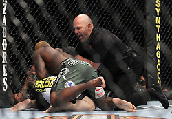 May 29, 2010; Las Vegas, NV; USA;  Melvin Guillard (green/black trunks) and Waylon Lowe (trunks) fight during their bout at UFC 114 at the MGM Grand Garden Arena in Las Vegas.