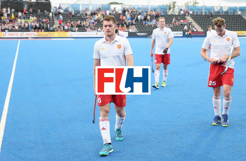 LONDON, ENGLAND - JUNE 24: Henry Weir of England and teammates look dejected after the semi-final match between England and the Netherlands on day eight of the Hero Hockey World League Semi-Final at Lee Valley Hockey and Tennis Centre on June 24, 2017 in London, England.  (Photo by Alex Morton/Getty Images)