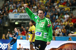 27.03.2016, SAP Arena, Mannheim, GER, Velux EHF Champions League, Rhein Neckar Loewen vs RK Zagreb, im Bild Borko Ristovski (Rhein Neckar Loewen) ballt die Faust // during the Velux EHF Champions League match between Rhein Neckar Loewen and RK Zagreb at the SAP Arena in Mannheim, Germany on 2016/03/27. EXPA Pictures © 2016, PhotoCredit: EXPA/ Eibner-Pressefoto/ Neis<br /> <br /> *****ATTENTION - OUT of GER*****