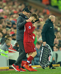 LIVERPOOL, ENGLAND - Wednesday, February 27, 2019: Liverpool's manager Jürgen Klopp prepares to bring on substitute Adam Lallana during the FA Premier League match between Liverpool FC and Watford FC at Anfield. (Pic by Paul Greenwood/Propaganda)