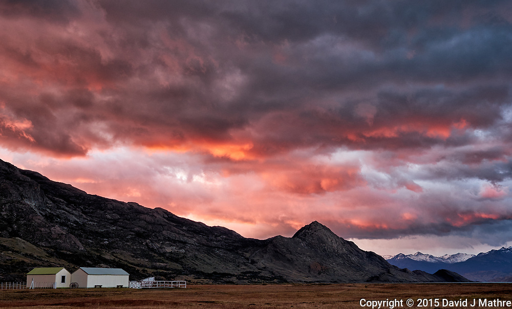 Dawn in Patagonia at Estancia Christina. Image taken with a Fuji X-T1 camera and 23 mm f/1.4 lens (ISO 200, 23 mm, f/2.8, 1/30 sec).