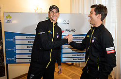 Blaz Rola and Aljaz Bedene of Slovenia during Official Draw of Davis Cup 2018 tournament between National teams of Slovenia and Poland, on February 2, 2018 in Mestna hisa - Mariborski Rotovz, Maribor, Slovenia. Photo by Rene Gomolj / Sportida