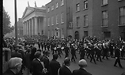 State Funeral Of Mrs Thomas Clarke..1972..08.10.1972..10.08.1972..8th October 1972..Today the state funeral of Mrs Kathleen Clarke took place at the Pro Cathedral,Dublin. Mrs Clarke was the wife of the late Thomas Clarke who was executed in Kilmainham Jail in 1916. Thomas Clarke was a signatory of the Irish Proclamation of 1916..Image taken as the band leads the cortege away from Pro Cathedral on its way to the internment at Glasnevin Cemetery.