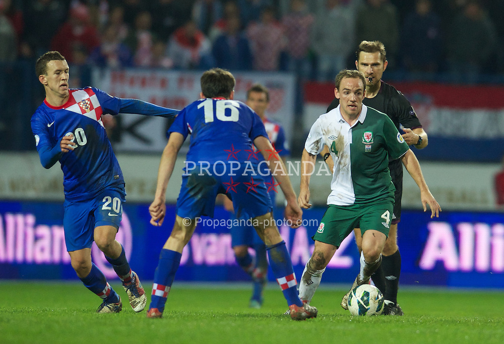 OSIJEK, CROATIA - Tuesday, October 16, 2012: Wales' David Vaughan in action against Croatia during the Brazil 2014 FIFA World Cup Qualifying Group A match at the Stadion Gradski Vrt. (Pic by David Rawcliffe/Propaganda)