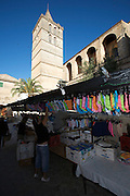 Sineu's famous Wednesday Market. Panties sold next to the church.