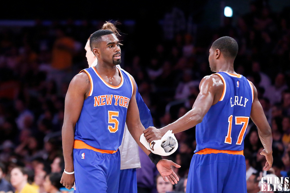 12 March 2015: New York Knicks guard Tim Hardaway Jr. (5) is congratulated by New York Knicks forward Cleanthony Early (17) during the New York Knicks 101-94 victory over the Los Angeles Lakers, at the Staples Center, Los Angeles, California, USA.