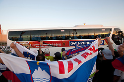 Fans of Slovenia and bus with Slovenia players after the Group C first round 2010 FIFA World Cup South Africa match between Algeria and Slovenia at Peter Mokaba Stadium on June 13, 2010 in Polokwane, South Africa.  Slovenia defeated Aleria 1-0. (Photo by Vid Ponikvar / Sportida)