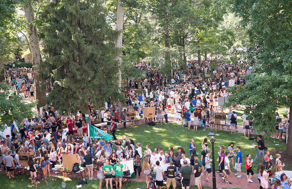 Student activities fair on College Green. Photo by Ben Siegel