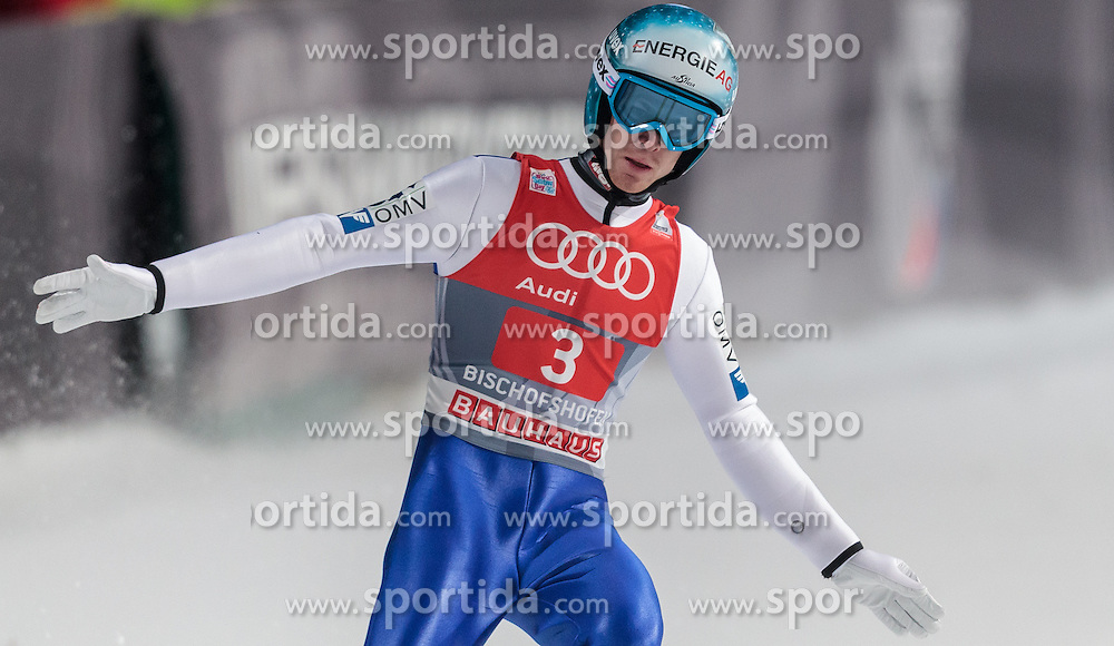 06.01.2016, Paul Ausserleitner Schanze, Bischofshofen, AUT, FIS Weltcup Ski Sprung, Vierschanzentournee, Bischofshofen, Finale, im Bild Michael Hayboeck (AUT) // Michael Hayboeck of Austria reacts after his 1st round jump of the Four Hills Tournament of FIS Ski Jumping World Cup at the Paul Ausserleitner Schanze in Bischofshofen, Austria on 2016/01/06. EXPA Pictures © 2016, PhotoCredit: EXPA/ JFK