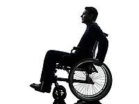 one handicapped man side view serious in silhouette studio on white background