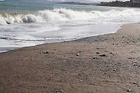 Waves on Killiney Beach in Dublin Ireland in the winter