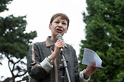 © Licensed to London News Pictures.  27/05/2017; Bristol, UK. General Election 2017; CAROLINE LUCAS. Green Party hold a rally at Cotham Gardens for their campaign in their number one target seat, Bristol West where they hope to gain their second Green MP with candidate Molly Scott Cato (currently MEP for the south west of England). Green Party co-leaders Caroline Lucas and Jonathan Bartley along with Jonathan Porritt all attended. Picture credit : Simon Chapman/LNP