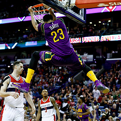 Jan 29, 2017; New Orleans, LA, USA; New Orleans Pelicans forward Anthony Davis (23) dunks Washington Wizards forward Jason Smith (14) during the second half of a game at the Smoothie King Center. The Wizards defeated the Pelicans 107-94. Mandatory Credit: Derick E. Hingle-USA TODAY Sports