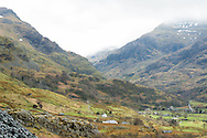 Mountain views of Snowdon and the valley below, Llanberis, North Wales.