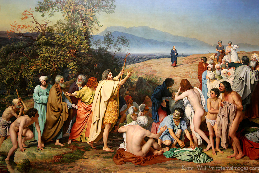 Europe, Russia, Moscow. Appearance of Christ to the People, painting by Russian artist Alexander Andreyevich Ivanov at the Tretyakov Gallery in Moscow.
