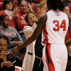 Nov 18, 2008; Piscataway, NJ, USA; Rutgers head coach C. Vivian Stringer yells criticism at the previous play to Rutgers forward Chelsey Lee during the second half of Rutgers' 83-35 victory at Louis Brown Athletic Center .