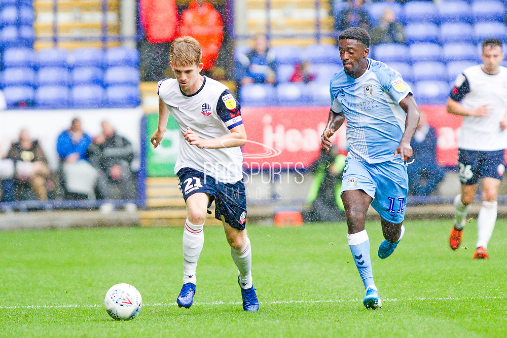 Bolton Wanderers defender Harry Brockbank in actionduring the EFL Sky Bet League 1 match between Bolton Wanderers and Coventry City at the University of  Bolton Stadium, Bolton, England on 10 August 2019.
