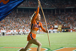 Virginia cheerleader..The #19 Virginia Cavaliers defeated the Miami Hurricanes 48-0 at the Orange Bowl in Miami, Florida on November 10, 2007.  The game was the final game played in the Orange Bowl.
