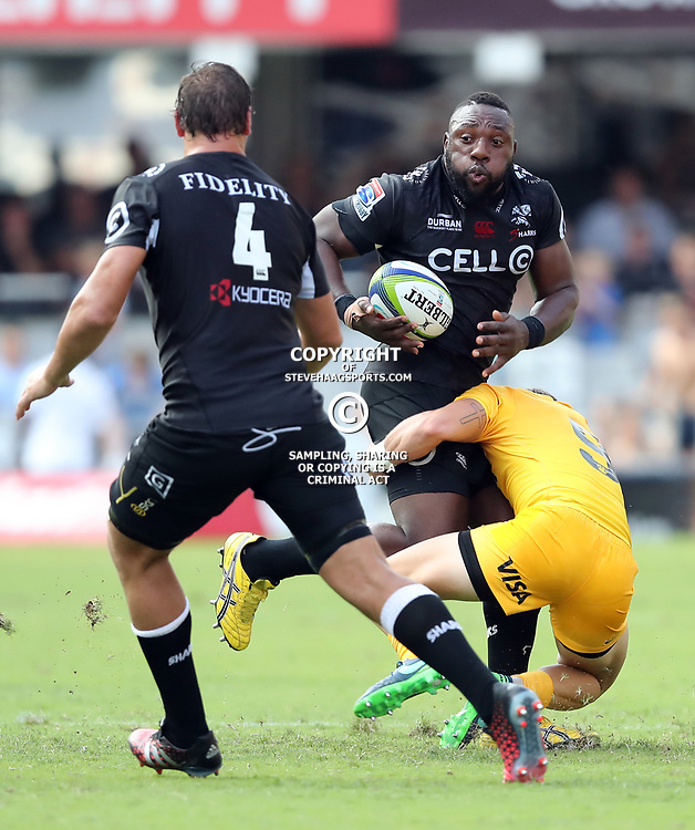 Beast Mtawarira of the Cell C Sharks during the Super Rugby match between the Cell C Sharks and the Jaguares  April 8th 2017 - at Growthpoint Kings Park,Durban South Africa Photo by (Steve Haag Sports)