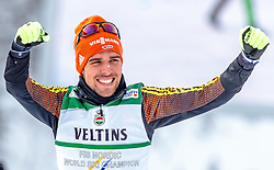 24.02.2017, Lahti, FIN, FIS Weltmeisterschaften Ski Nordisch, Lahti 2017, Nordische Kombination, Flower Zeremonie, im Bild Goldmedaillen Gewinner Johannes Rydzek (GER) jubelt // Gold Medalist Johannes Rydzek of Germany celebrate during Flower Ceremony of Nordic Combined competition of FIS Nordic Ski World Championships 2017. Lahti, Finland on 2017/02/24. EXPA Pictures © 2017, PhotoCredit: EXPA/ JFK