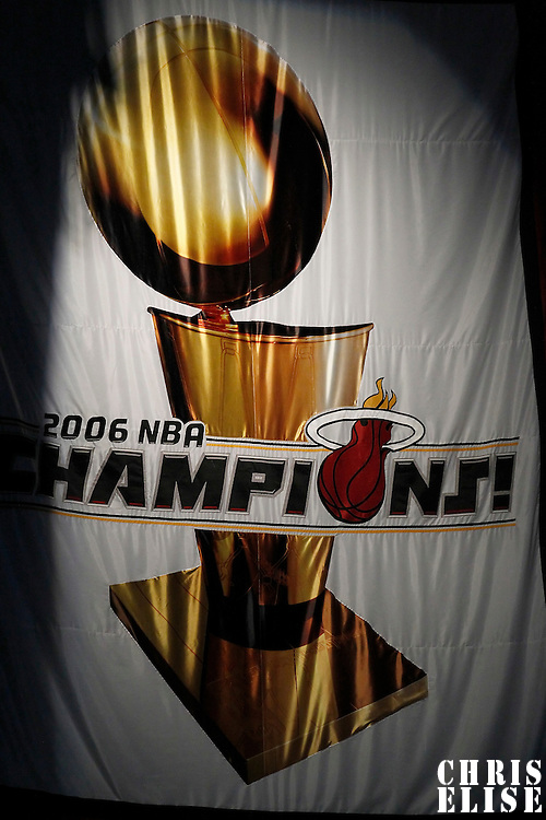 17 June 2012: The 2006 Championship banner is seen in the rafters during the Miami Heat 91-85 victory over the Oklahoma City Thunder, in Game 3 of the 2012 NBA Finals, at the AmericanAirlinesArena, Miami, Florida, USA.