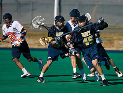 Navy defenseman Jaren Woeppel (45) in action against UVA.  The Virginia Cavaliers scrimmaged the Navy Midshipmen in lacrosse at the University Hall Turf Field  in Charlottesville, VA on February 2, 2008.