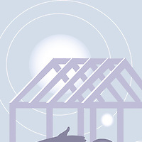 Conceptual illustration of figure relaxing outdoors with the sun being blocked by a neighbours building contruction