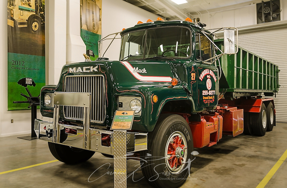 A vintage 1950 Mack Truck is pictured at Waste Pro, March 18, 2016, in Sanford, Florida. The company has a garbage truck museum on the premises and restores antique garbage trucks. (Photo by Carmen K. Sisson/Cloudybright)