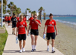 LARNACA, CYPRUS - Thursday, March 1, 2018: Wales' Jessica Fishlock, Rachel Rowe and Loren Dykes during a team walk around the Palm Beach Hotel & Bungalows in Larnaca on day three of the Cyprus Cup tournament. (Pic by David Rawcliffe/Propaganda)