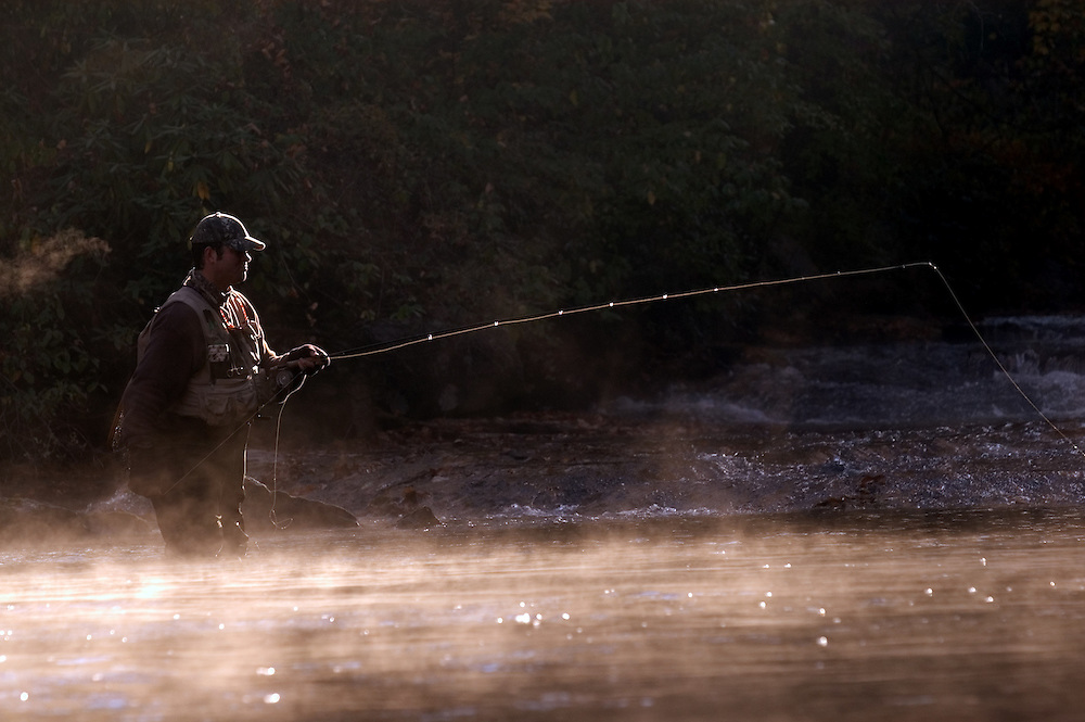 ASHEVILLE, NC - OCTOBER 31: Woody Platt fly-fishes in a stream near Brevard in the Appalachian Mountains outside Asheville in North Carolina. (Photo by Logan Mock-Bunting) Fly-fishing near Brevard, NC