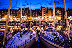 The harbour in Honfleur, Normandy, France in the evening