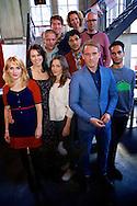 AMSTERDAM - In het ketelhuis is de perspresentatie gehouden van het nieuwe seizoen 'Wie Is De Mol 2014'. Met hier op de foto  alle deelnemers van WIDM2014. FOTO LEVIN DEN BOER - PERSFOTO.NU
