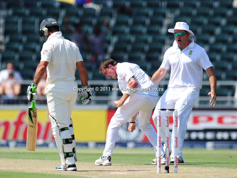 Dale Steyn of South Africa celebrates the wicket of Ricky Ponting of Australia for a duck<br /> &copy; Barry Aldworth/Backpagepix