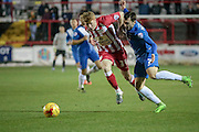 Brad Halliday (Accrington Stanley) and Nathan Thomas (Hartlepool United) during the Sky Bet League 2 match between Accrington Stanley and Hartlepool United at the Fraser Eagle Stadium, Accrington, England on 19 January 2016. Photo by Mark P Doherty.